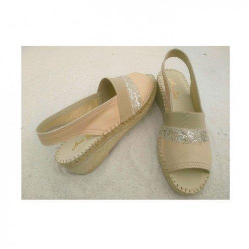 sandália duas cores com elástico peito pé