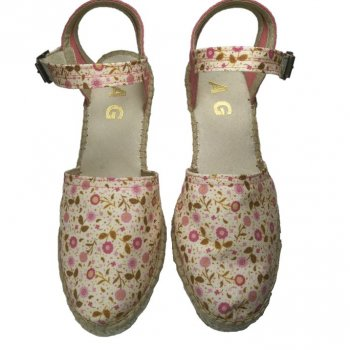 high sandal in flowered fabric